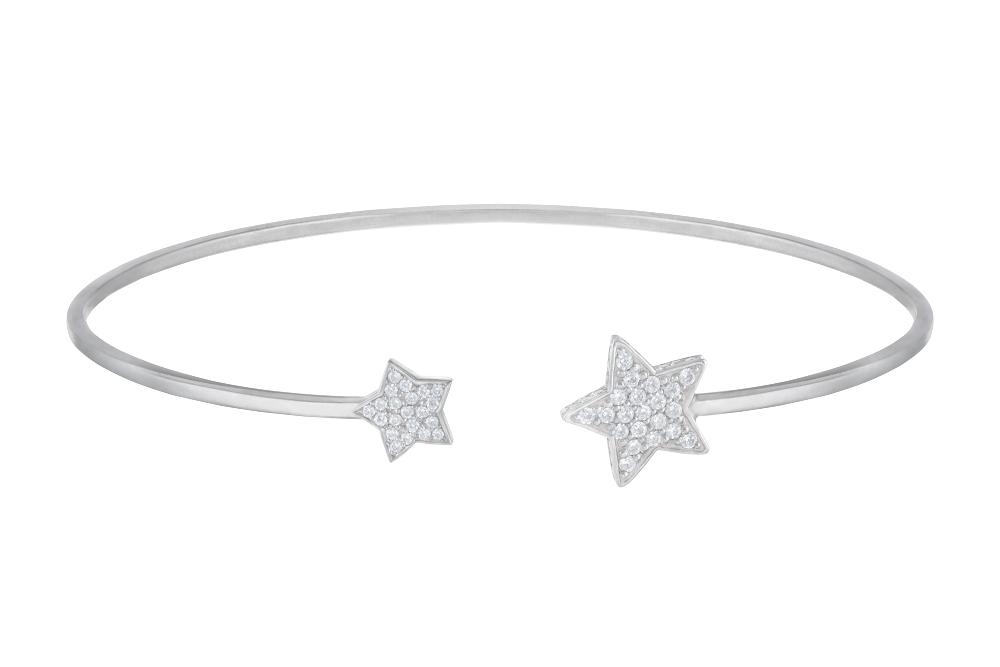 Жесткий браслет «Звезды» с белыми бриллиантами