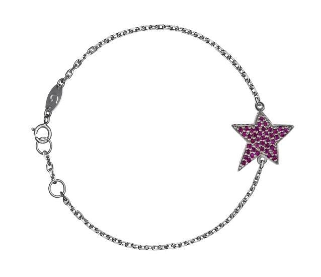 Браслет «Звезда» кривая с рубинами
