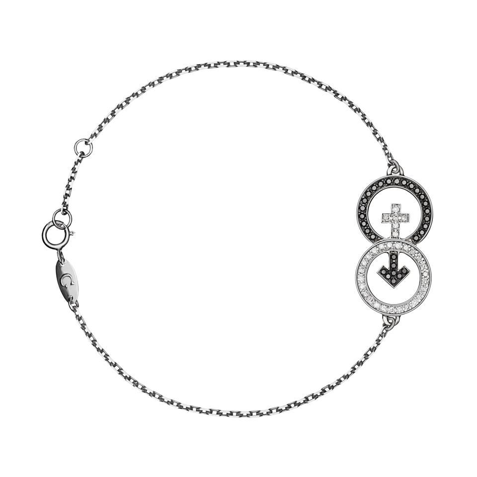 Браслет «ВЕНЕРА-МАРС» с черными и белыми бриллиантами