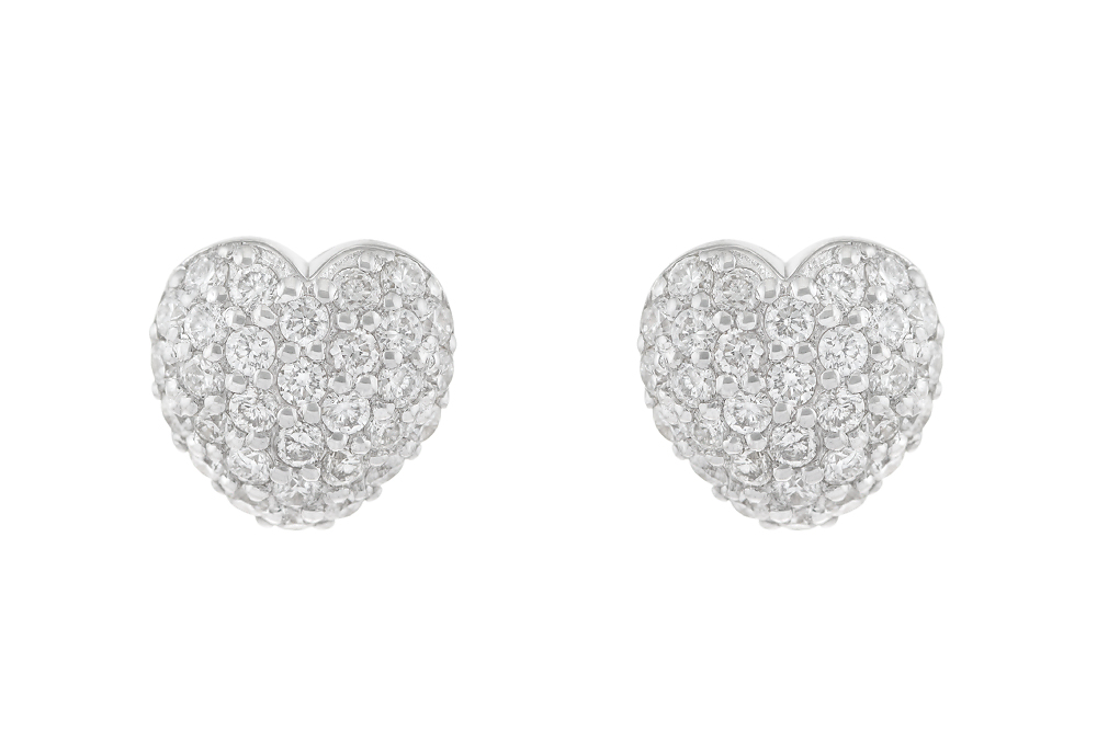 Серьги «Сердечки» с белыми бриллиантами