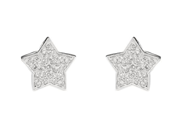 Серьги «Звездочки» в белых бриллиантах