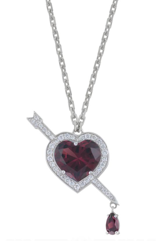Подвеска «Сердце» с альмандинами и белыми бриллиантами