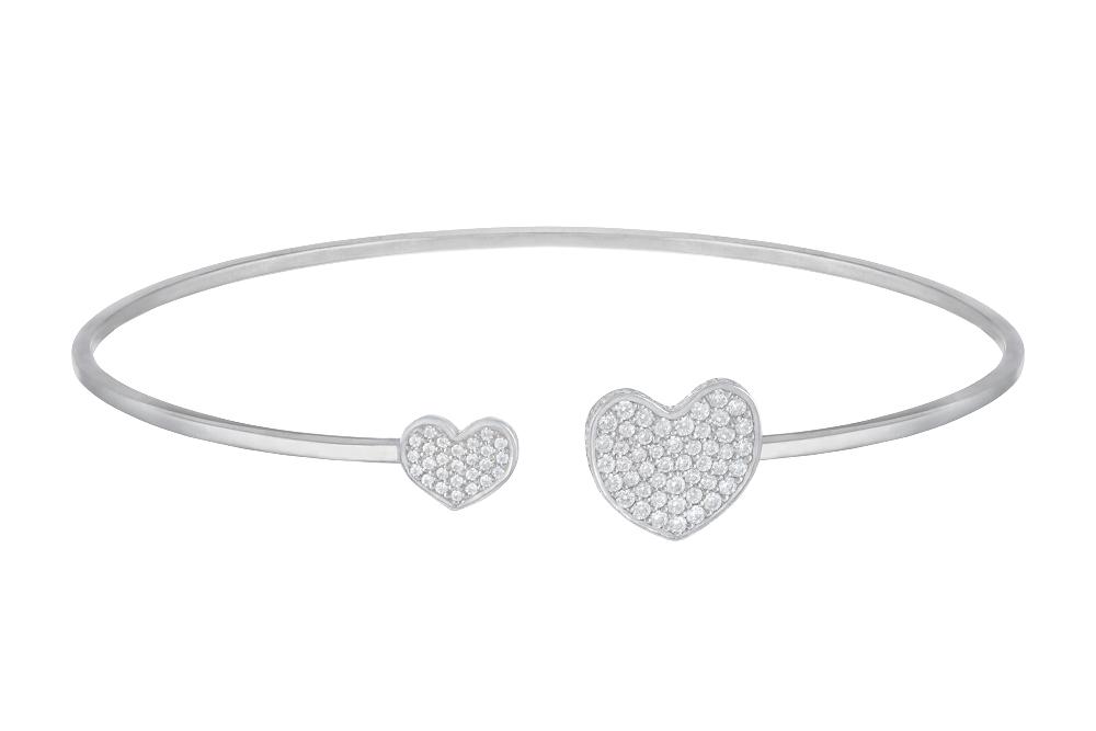 Жесткий браслет «Сердца» с белыми бриллиантами
