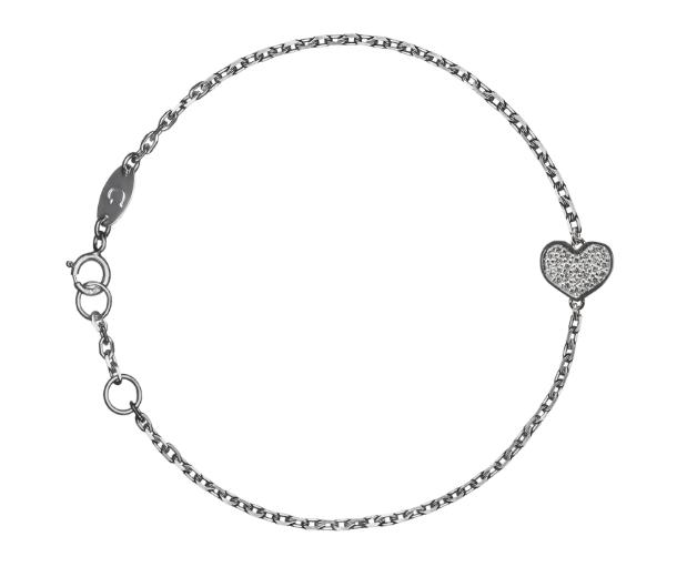 Браслет «Сердце» с белыми бриллиантами